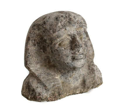 Archaic Egyptian Stone Head Fragment with Khat headdress
