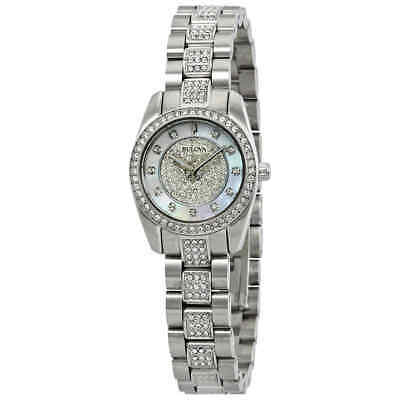 Bulova Crystal White Mother of Pearl Dial Ladies Watch 96L253