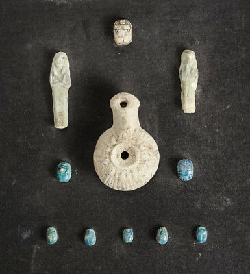 grouping of Archaic Egyptian Artifacts Faience Shabti Scarabs, Pottery Oil Lamp
