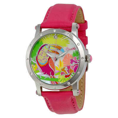 b83bf8bc3543 Bertha Gisele Toucan Mother of Pearl Steel Case Pink Leather Strap Ladies  Watch
