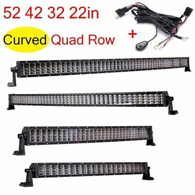 "Quad Row 52"" 22"" 32"" 42""in LED Work Light Bar Combo Beam Off Road Trucks 4WD SUV"