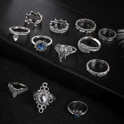 12 Pcs Vintage Bohemian Elephant Leaf Feather Crystal Joint Knuckle Ring Set D