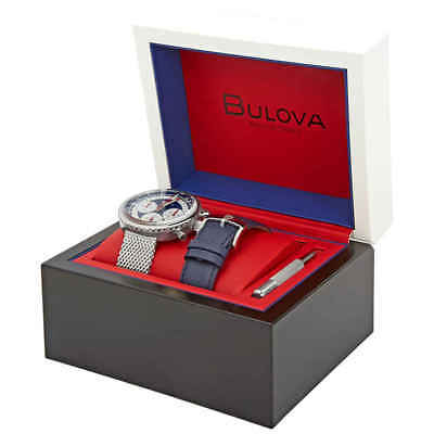 Bulova Special Edition Chronograph White Dial Men's Watch Set 96K101