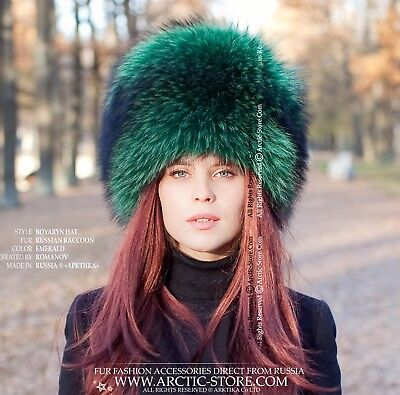 09760636e87bd Emerald green Luxury Russian original women s raccoon fur hat for a Lady