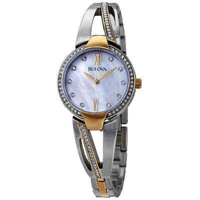 Bulova Crystal Mother of Pearl Dial Two-tone Ladies Watch 98L227