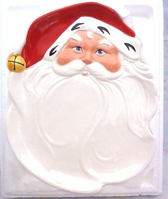 Vintage 1986 Avon Large Christmas Holiday Jolly Santa Large Server Platter