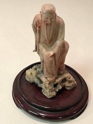 Vintage Chinese Soapstone Old Man Figurine with Stand