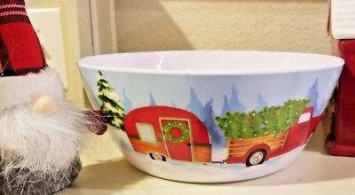 """New! Gibson Home Melamine 10"""" Christmas Serving Bowl Retro Camper Red Pickup"""