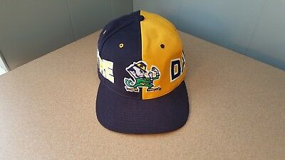 Vtg 1990s NOTRE DAME Fighting Irish American Needle Two-Tone Wool Snapback Hat