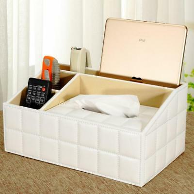 Multifunction Tissue Box Pu Leather TV Remote Control Holder Storage Box