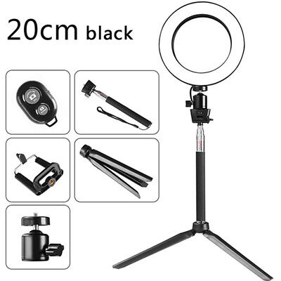 """8"""" LED SMD Ring Light Kit Set W/ Stand Dimmable 5500K For Makeup Phone Camera US"""