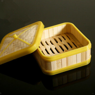 Square Pressure Cookers Asian Steamer Natural Bamboo Basket with Lid