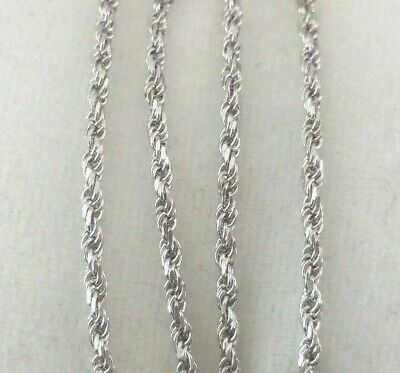 Solid .925 Sterling Silver Diamond Cut Twisted Rope Chain Necklace Anklet Italy