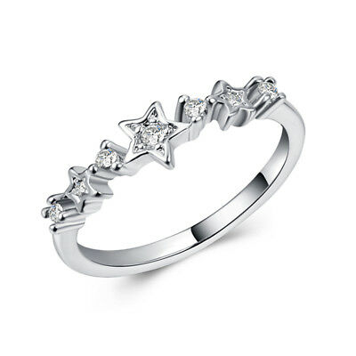 Gorgeous Star 925 Silver Wedding Rings for Women White Sapphire Ring Size 6-10