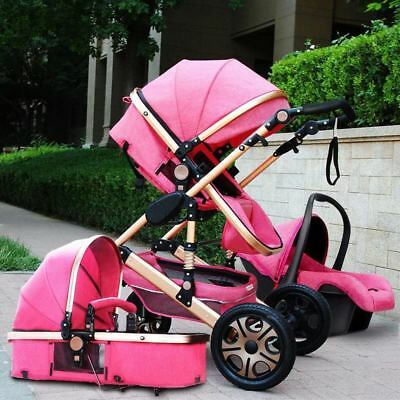 3 In 1 Luxury Foldable Baby Stroller High View Pram Pushchair