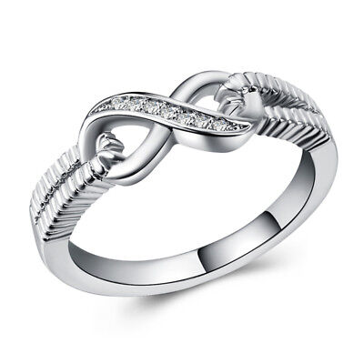 Infinity 925 Silver Wedding Set Rings for Women White Sapphire Ring Size 6-10