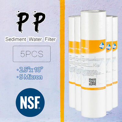 5Pcs 10 Inch 5-Micron Sediment PP Cotton Filter System For Home Water Purifier