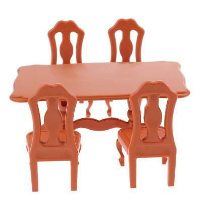 5pcs 1/12 Wooden Kitchen Dining Table Chair Set Barbie Dollhouse Furniture Beige