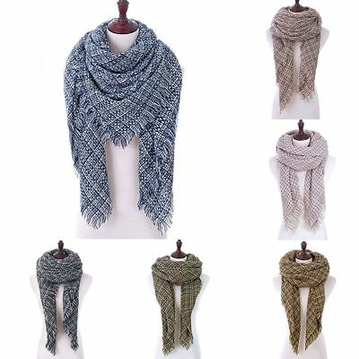 Women Oversized Thick Knitting Triangle Scarf Winter Warm Shawl Wrap Scarves