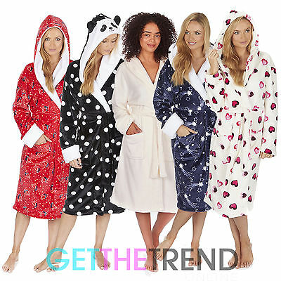 Women Dressing Gown Fleece Nightwear Womens Winter Robe Ladies Soft Sleepwear