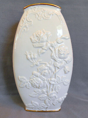 Lenox Scuptured Rose Vase Certified Ivory China and 24k Gold Trim Brand New