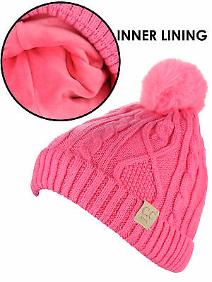 e4bcf24b9f1 C.C Kids' Cable Knit Soft Single or Double Pom Fuzzy Lined Cuff CC Beanie