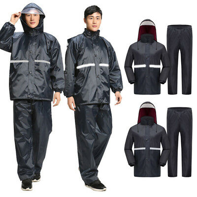 Men's Water-Resistant Motorcycle Riding Raincoat Rain Pants Windproof Rain Suit
