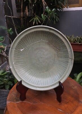 Large Old &Antique Chinese Song Dynasty Longquan Celadon with Flower motif