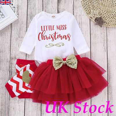 UK Baby Girls Christmas Clothes Romper Tops Tutu Skirt Dress Legging Outfit Sets