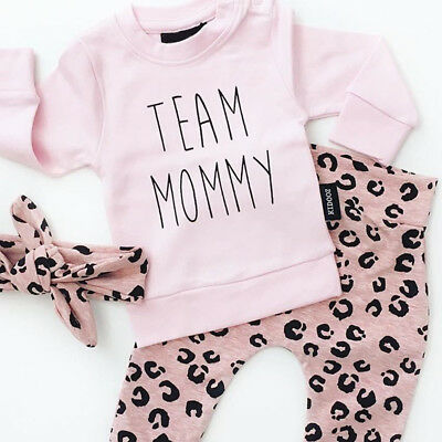 3PCS Baby Girls Outfits T-shirt+Pants Set Toddler Autumn Clothes Tracksuit UK