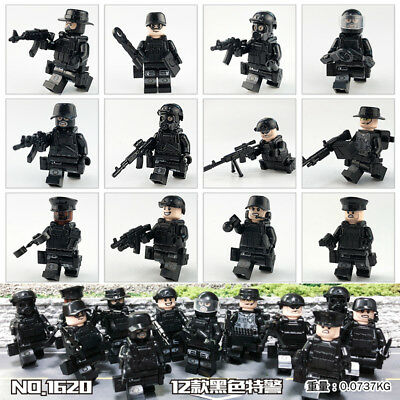 12 set  SWAT POLICE Military Mini figures Weapons Army SS Soldier Fit Lego Toys