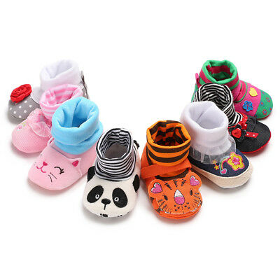 UK For Kids Baby Boy Girl Soft Cartoon Anti-Skid Baby Booties Sock Slipper Shoes