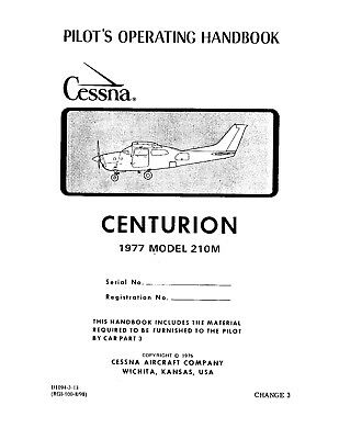 520951e6858 Cessna 210M CENTURION 1977 POH Information Manual - HIGH QUALITY GLOSSY