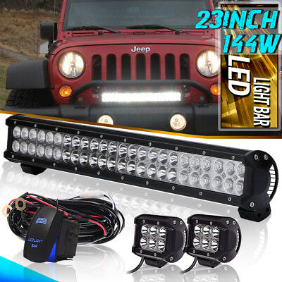 """23"""" Led Light Bar Combo OFFROAD Lamp waterproof FOR JEEP FORD CHEVY 12V/24V"""