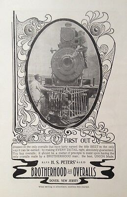 1903 Ad(H21)~H.s. Peters' Union Made Brotherhood Railroad Overalls, Dover, Nj.