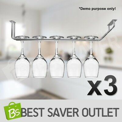 3x Wine Glass Holder Hanging Rack Kitchen Steel Metal Bar Hanger Storage Shelf