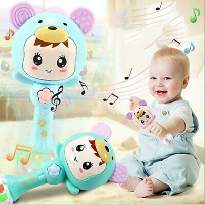 Kid Newborn Baby Cartoon Musical Rattle Teether Stick Early Learning Toys IN9