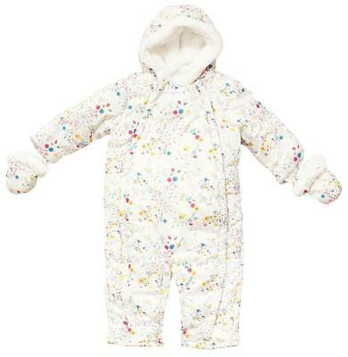 Baby Pramsuit Woodland Floral Snowsuit Coat Hooded Mittens Newborn to 18 Months