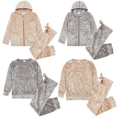 Girls Crushed Velvet Lounge Set Pyjamas Pjs Tracksuit Sweatshirt jogger Pants