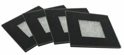 Set of 4 Sparkly Crushed Crystal Mirrored Glass Black Coasters Drinks Beer Mat