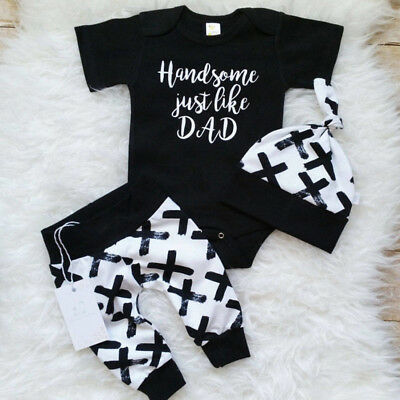 3Pcs Newborn Baby Boy Cotton Top Romper Pants Leggings Hat Outfit Clothes Set