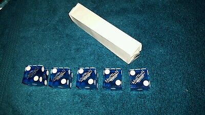 Five Official Casino Dice Craps Table Games used lot of 5 Blue