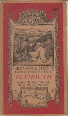 Ordnance Survey Contoured Road Map Of Plymouth 144 :
