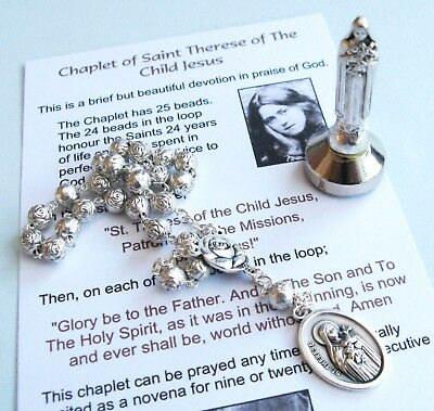 St Therese (Little Flower) Prayer Chaplet card and mini Statue set Catholic gift