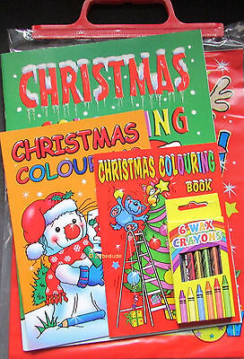 4 Piece Kids Christmas Activity Pack 3 Colouring Books Crayons Carry Bag Xmas