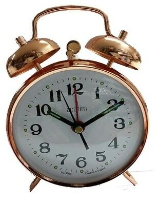 Acctim Selworth Clock Keywound Wind Up Double Bell Alarm Clock Bedside 15270