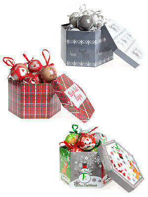 Set of 14 Boxed Baubles Red Vintage Christmas Decoration Hanging Bauble Gift