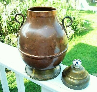 Vintage Copper And Brass Urn Vase Jug With Lid