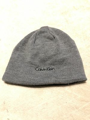 Calvin Klein Solid Reversible Beanie Gray Black Mens One Size NWOT