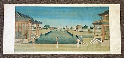 Large Antique Chinese Scroll Painting Of Vast Courtyard With Waterway